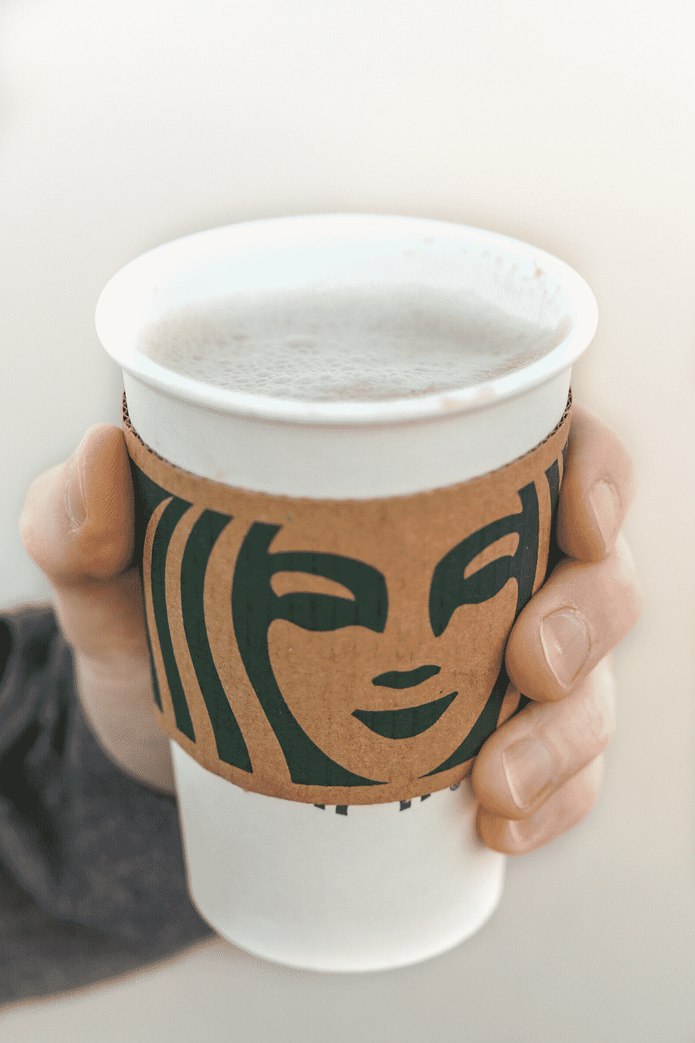 A hand holding a cup of Starbucks caffe Misto