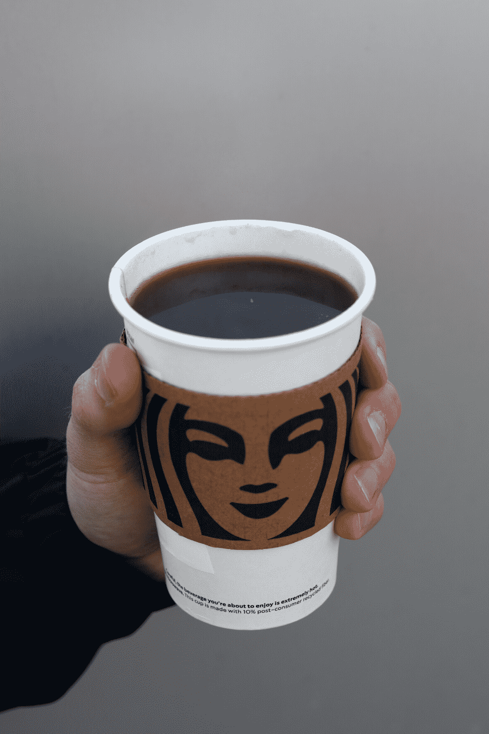 A hand holding a cup of Starbucks vegan caffe Americano