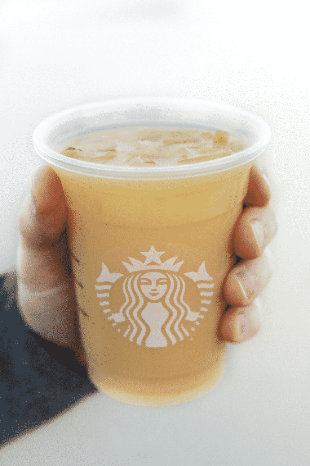 A hand holding a cup of Starbucks vegan iced royal English breakfast tea latte