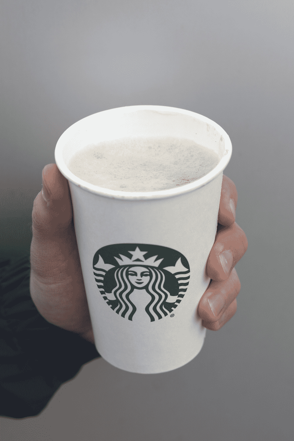 A hand holding a cup of vegan Starbucks cappuccino.