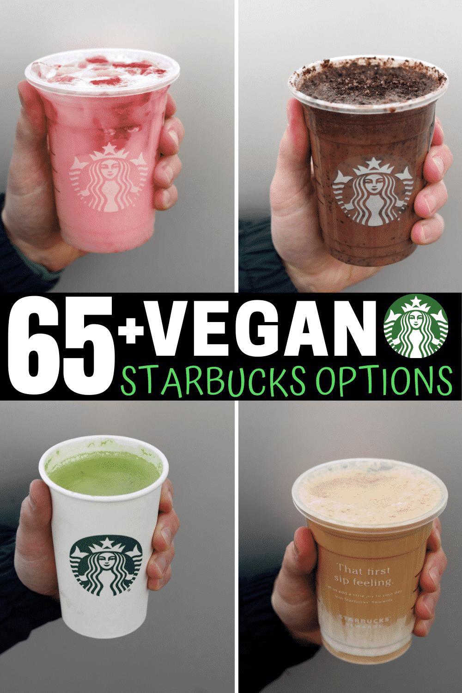 A compilation of 4 vegan Starbucks drinks