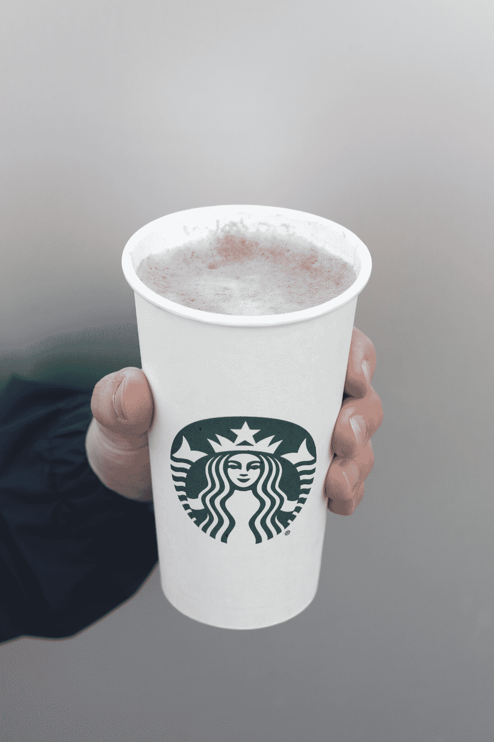 A hand holding a cup of Starbucks vegan hot chocolate.
