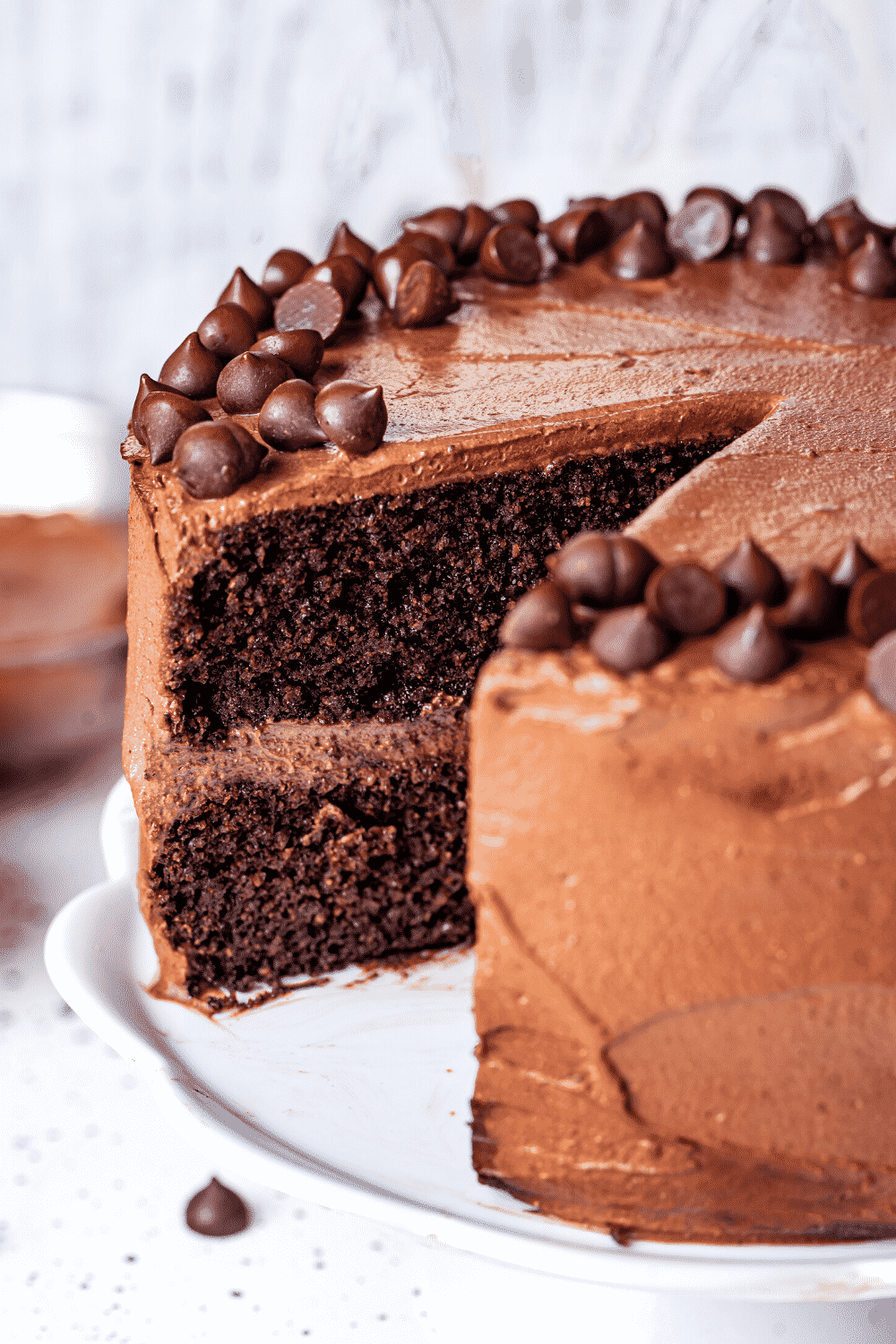 A chocolate cake and a white serving dish. There is one slice missing from the front of the chocolate cake.