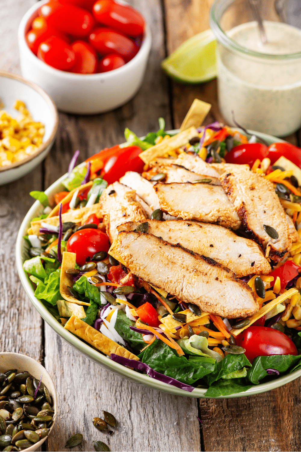 A bowl filled with southwest chicken salad.