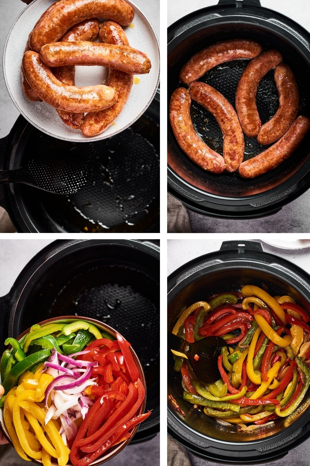 A four-way split picture: the top left is a plate with Italian sausage on it hovering over an Instant pot. Top right is cooked Italian sausage in an instant pot. The bottom left is a plate with red, green, and yellow peppers and onions hovering over an instant pot. In the bottom right is an instant pot filled with browned peppers and onions.