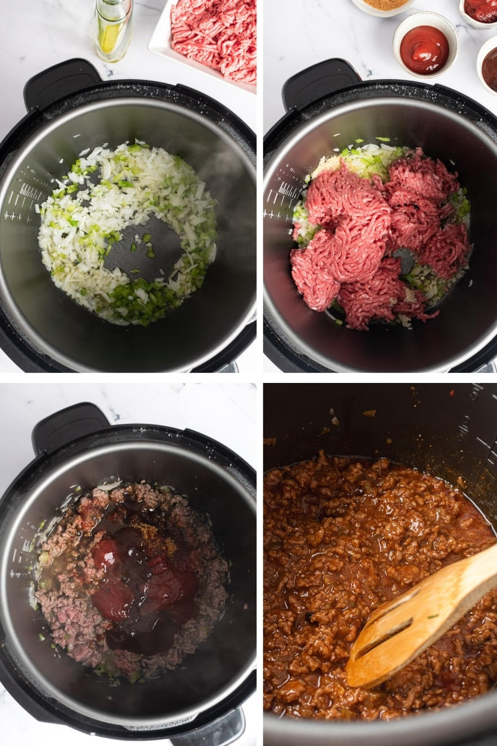 A four way split picture showing how to make sloppy joes in an instant pot.