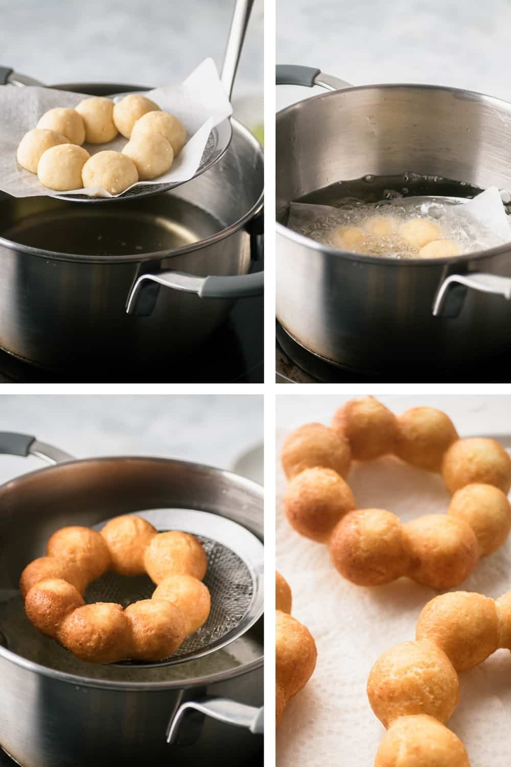 A four way picture showing the process of frying mochi donuts.