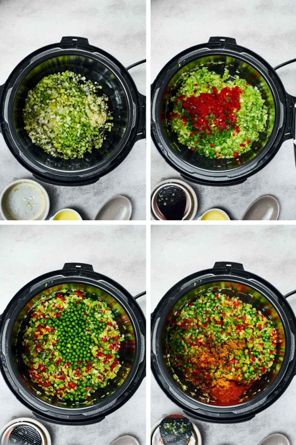 A four way split picture showing the process of making veggies in an instant pot for paella.