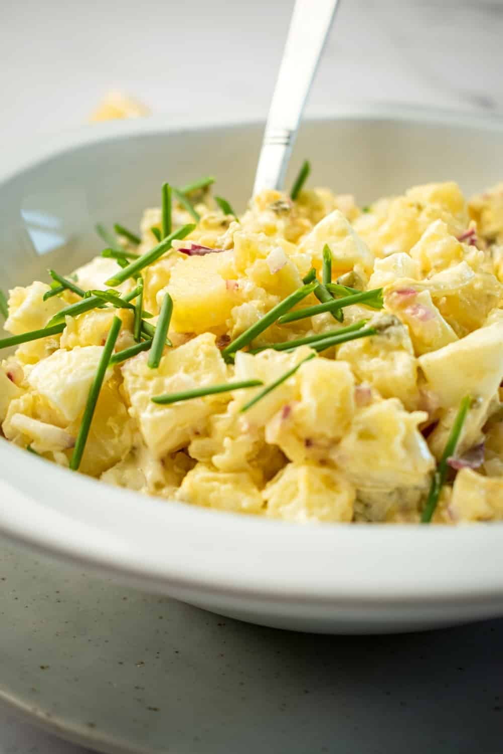 A white bowl with potato salad in it.