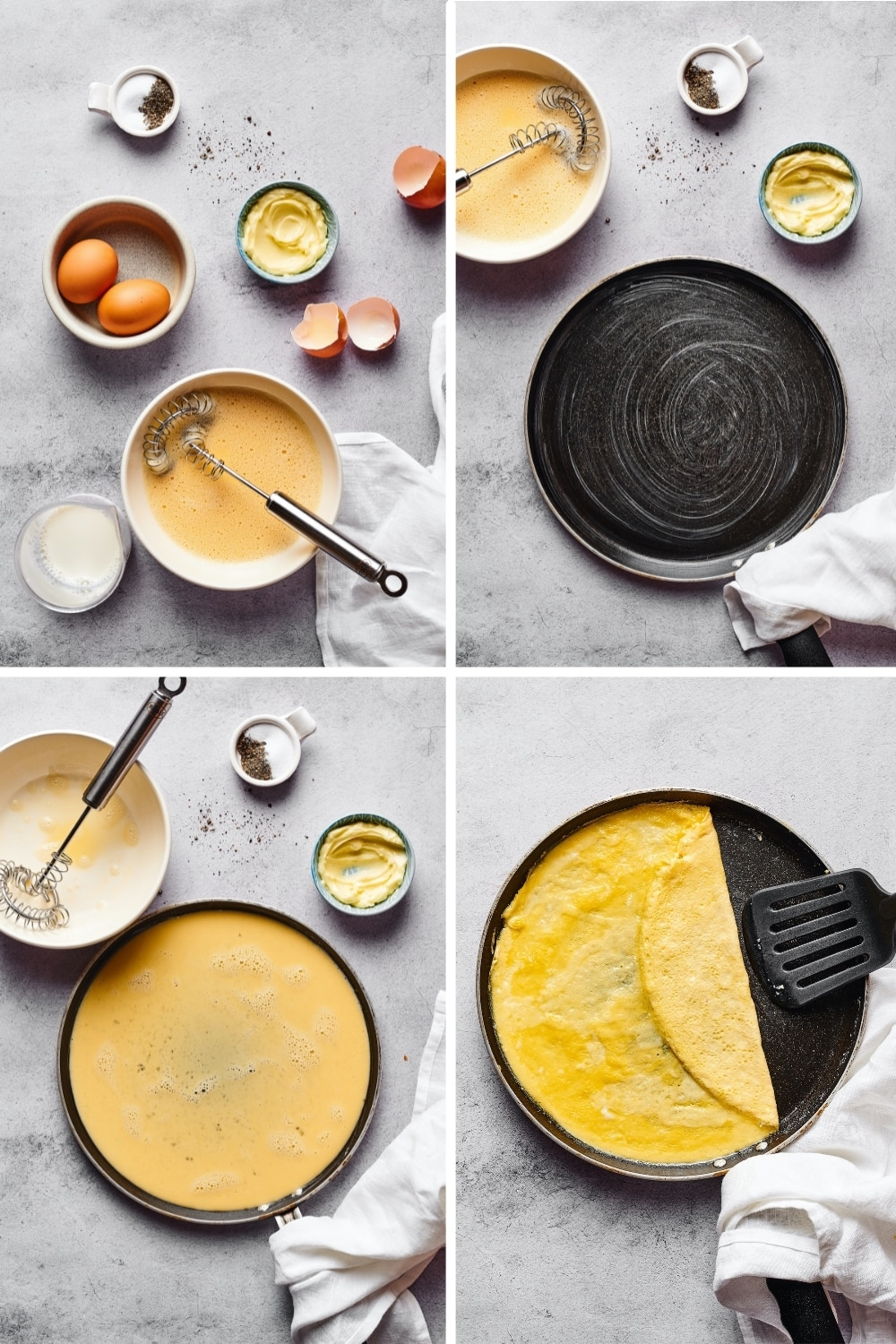 A four way split picture showing the process of making an egg omelette for a homemade McGriddle.