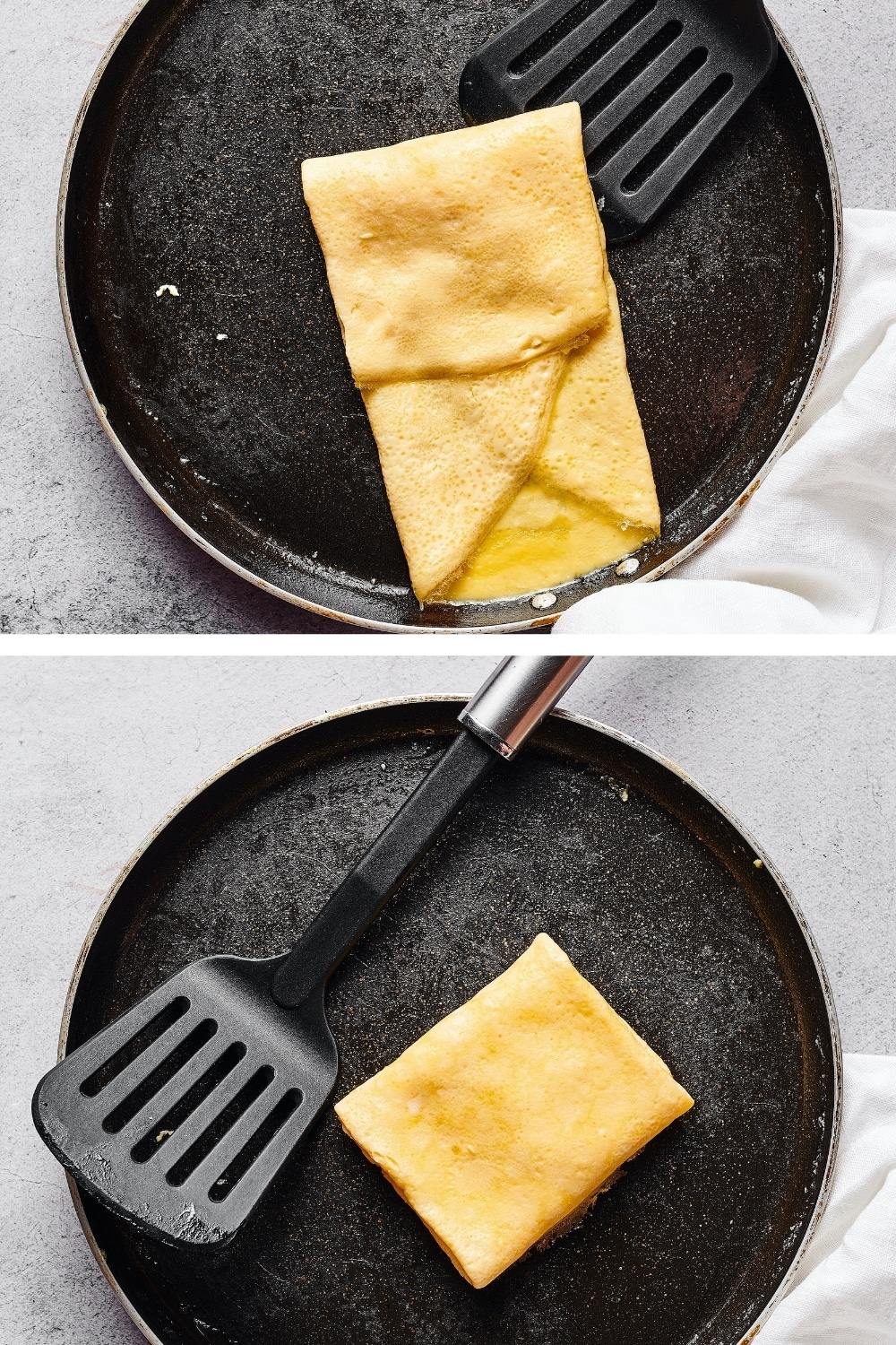 A two split picture: the top is a pan with a half folded Mcgriddle omelette on it. The bottom picture is a pan with a folded square Mcgriddle omelette on it.