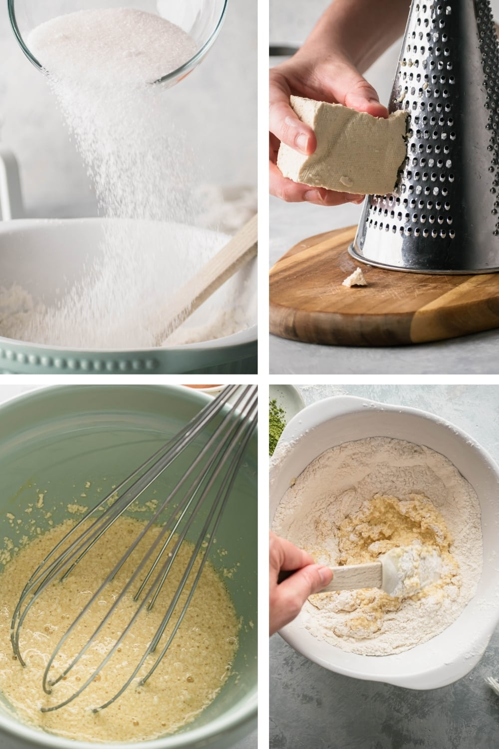 A four way picture showing how to make mochi donuts.