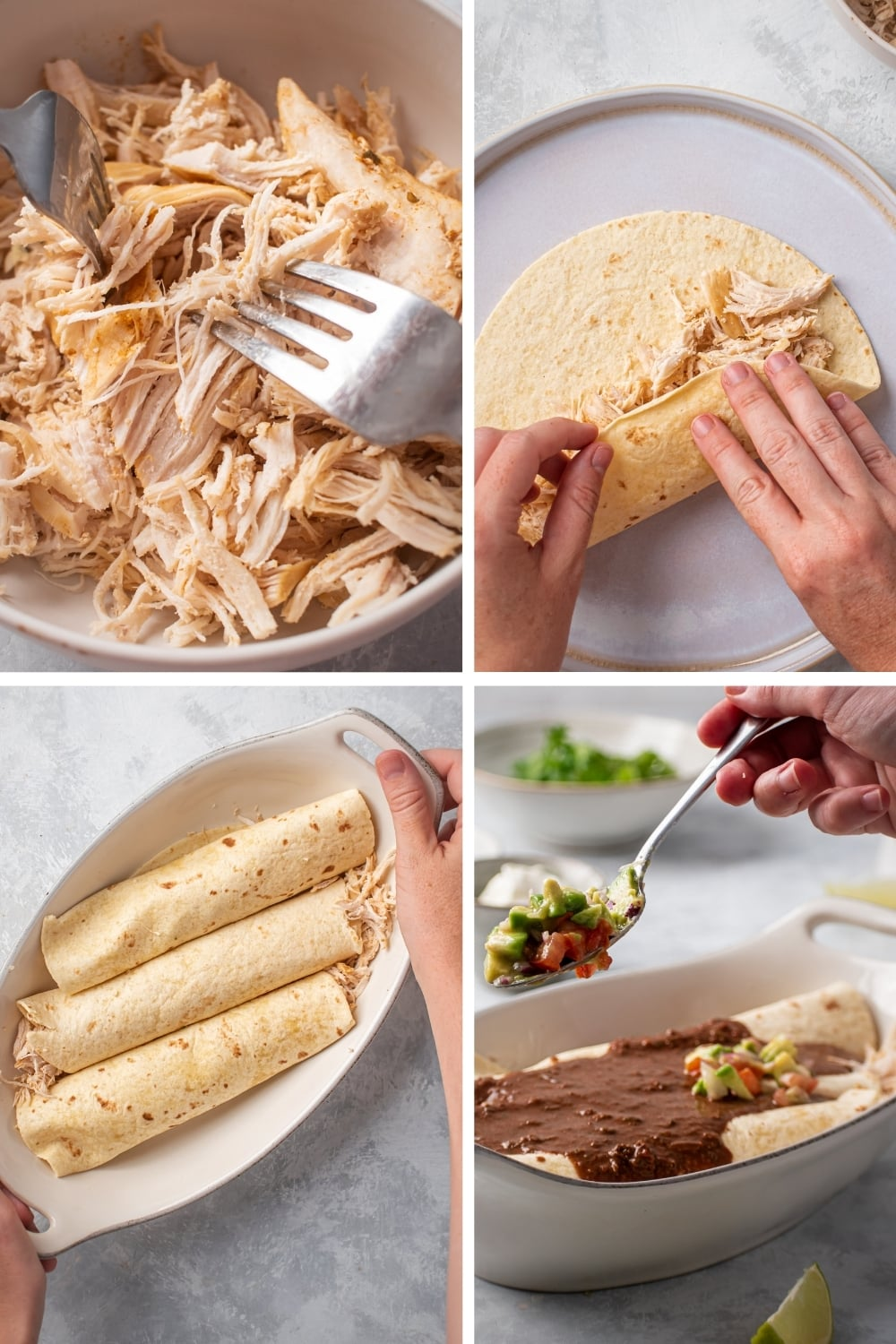 A four-way split picture showing the process of assembling chicken enchiladas.
